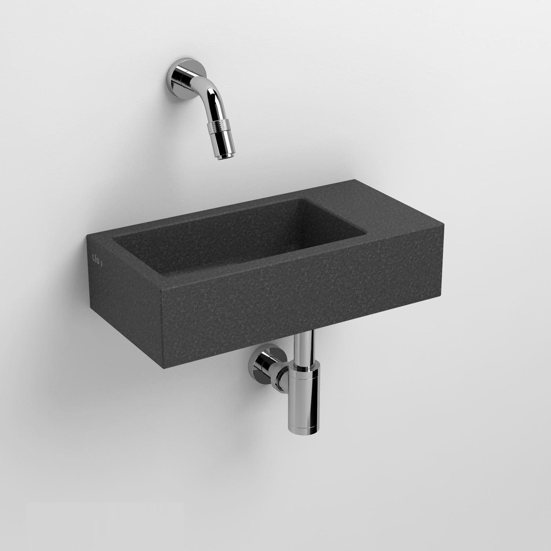 Fontein Clou Flush 3 36x18x9cm Gezoet Basalt (Zonder Kraangat) kopen - Tegel Depot sanitair met korting