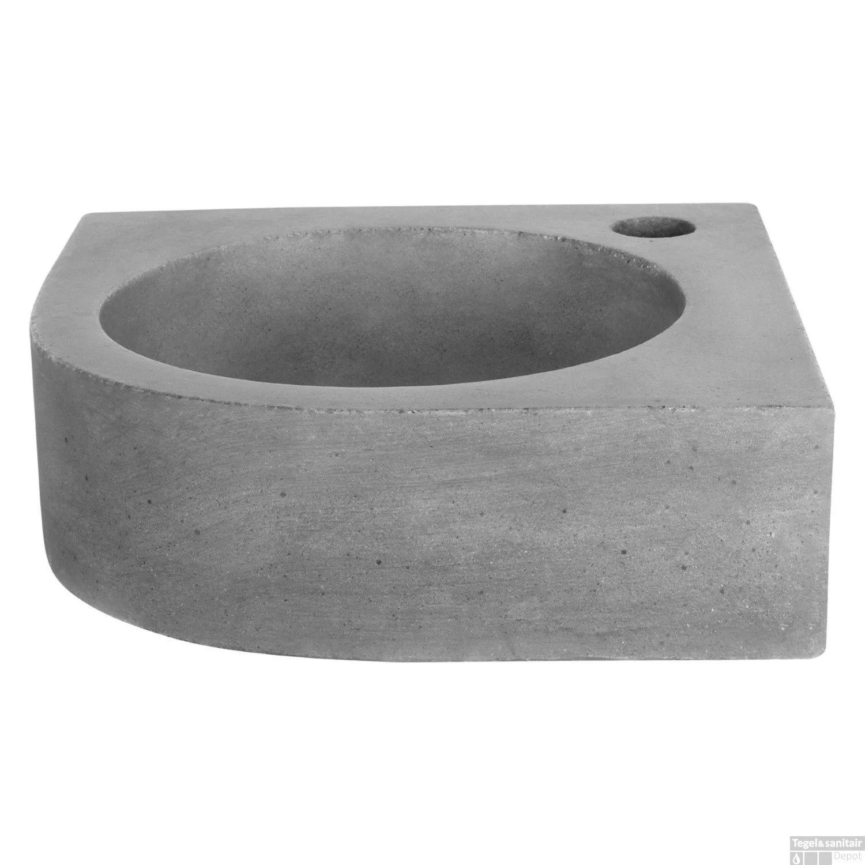 Fonteinset Differnz Mix En Match Cleo Hoekfontein 30x30x10 cm Donker Beton (Keuze Uit 5 Kleuren Kranen) Wastafels Fontein toilet van Differnz voor slechts 169.99 Euro snel in huis