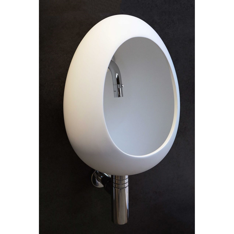 Badkamer Fontein Eivormig Luca Sanitair 30x26x41 cm Solid Surface Mat Wit Fontein toilet