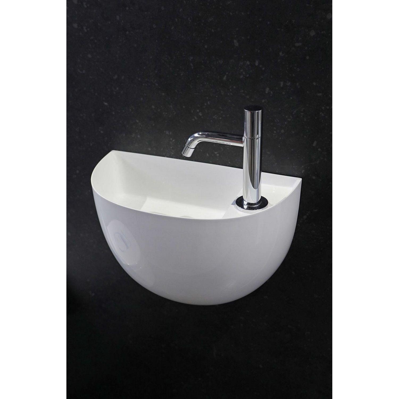 Badkamer Fontein Halfrond Luca Sanitair 38x20x28 cm Mineraalsteen Glans Wit (met afvoer, zonder kraangat) Fontein toilet