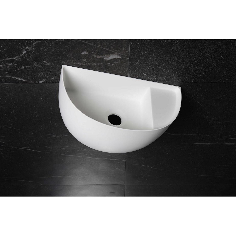 Badkamer Fontein Halfrond Luca Sanitair 38x20x28 cm Solid Surface Mat Wit (met afvoer, zonder kraangat) Fontein toilet