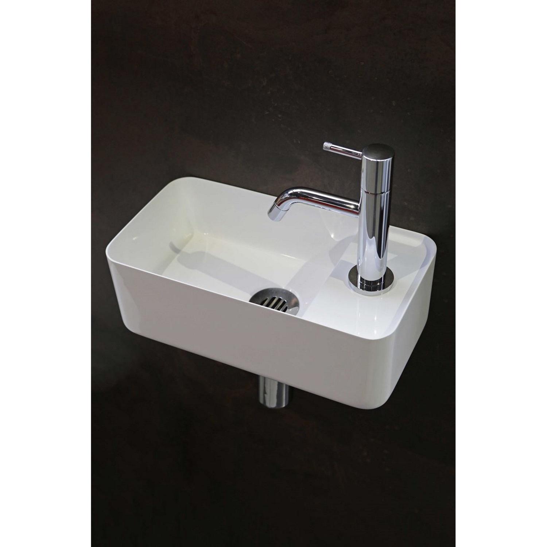 Badkamer Fontein Luca Sanitair 35×18,5×12 cm Mineraalsteen Glans Wit (zonder kraangat) Fontein toilet