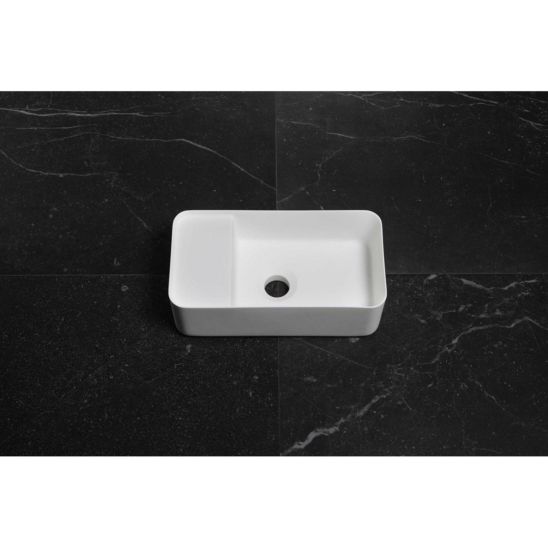 Badkamer Fontein Luca Sanitair 35×18,5×12 cm Solid Surface Mat Wit (zonder kraangat) Fontein toilet