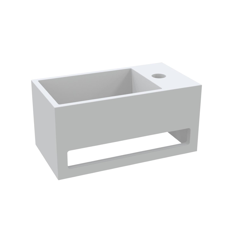 Sanitair-producten 73222 Fontein met Handdoekhouder Best Design Mona Solid Surface 33x18x16 cm (kraangat rechts)