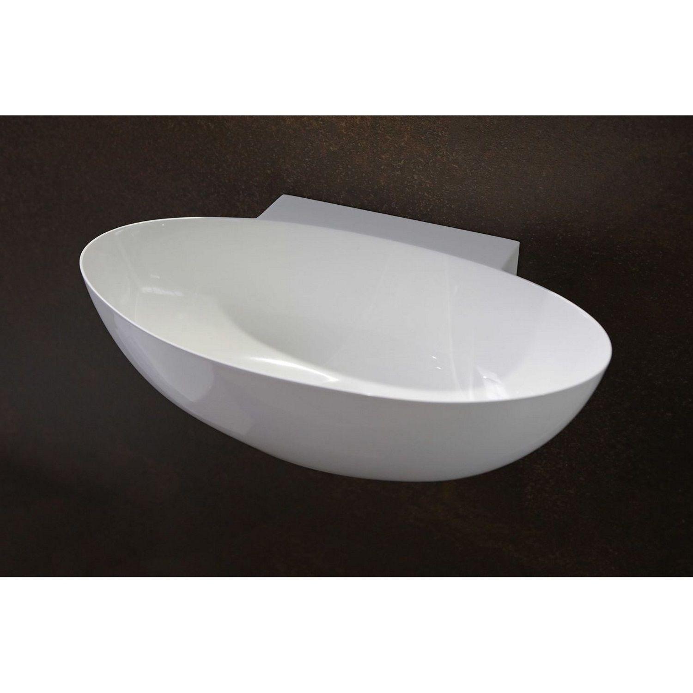 Badkamer Fontein Ovaal Luca Sanitair 40x22x12 cm Mineraalsteen Glans Wit (zonder kraangat) Fontein toilet