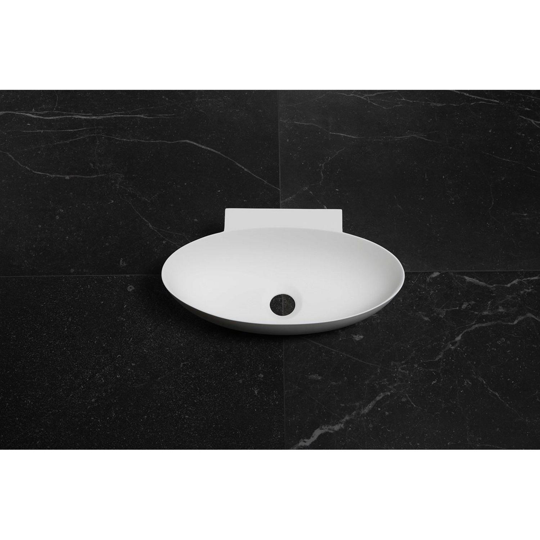 Fontein Ovaal Luca Sanitair 40x22x12 cm Solid Surface Mat Wit (zonder kraangat)