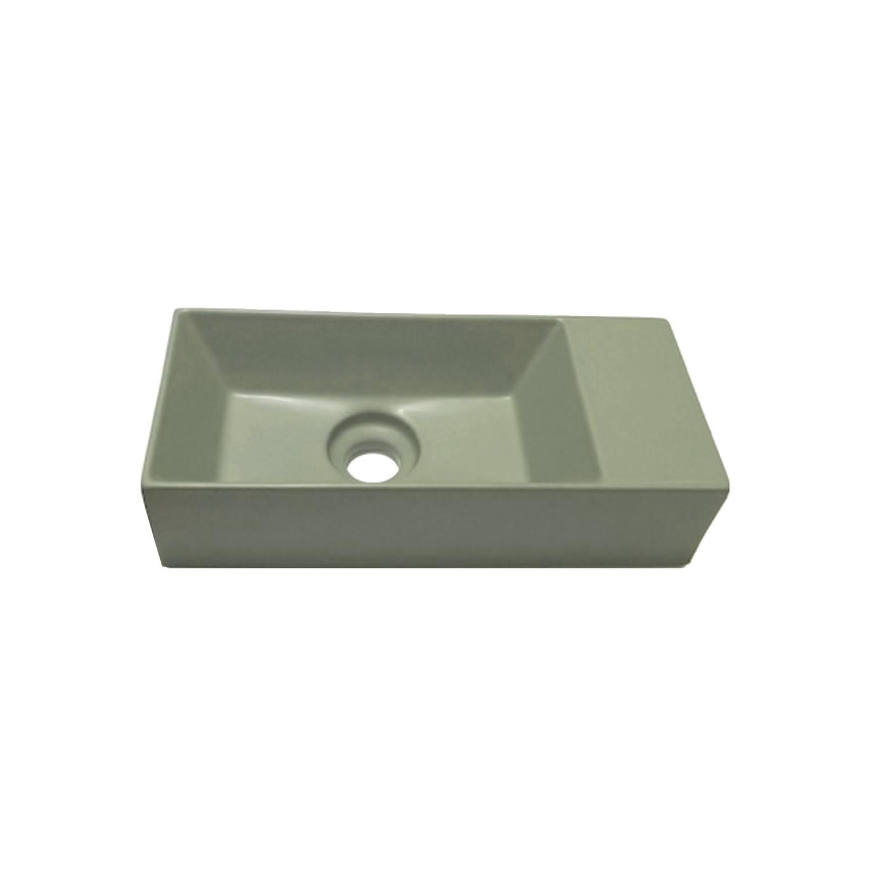 Fontein Salenzi Spy 45x20 cm Mat Legergroen zonder Kraangat (inclusief bijpassende clickwaste)