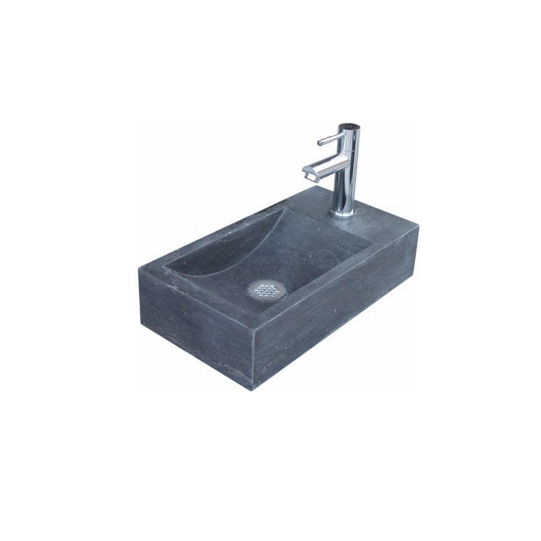 Fontein Sanilux Recto Mini Natuursteen 36x18x10 cm Antraciet (kraangat rechts)