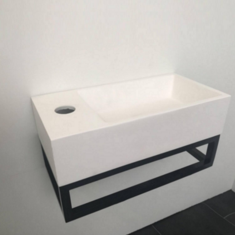 Fonteinset BWS Solid Black 40x22x10 cm met Mat Zwart Frame (kraangat links) Fontein toilet kopen met voordeel