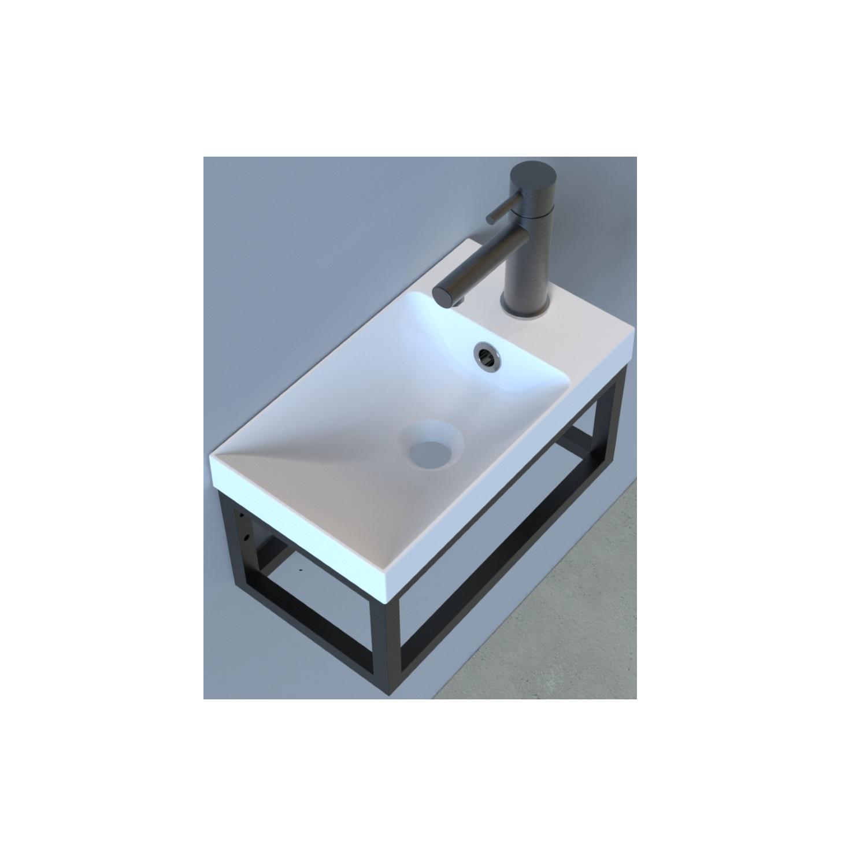 Fonteinset Industrieel BWS Frame Hangend 40 cm Mat Zwart Aluminium Glans Wit (exclusief kraan en afv