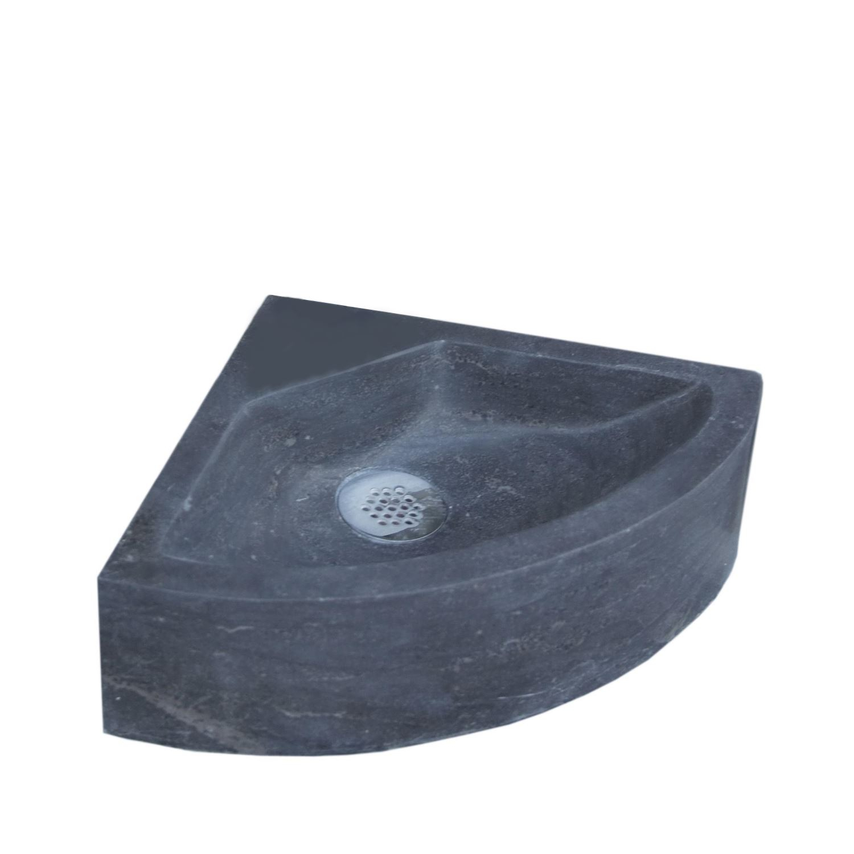 Wastafels 5456 Fontein Sanilux Corner Hardsteen 30x30x10cm Kwartrond met kraangat