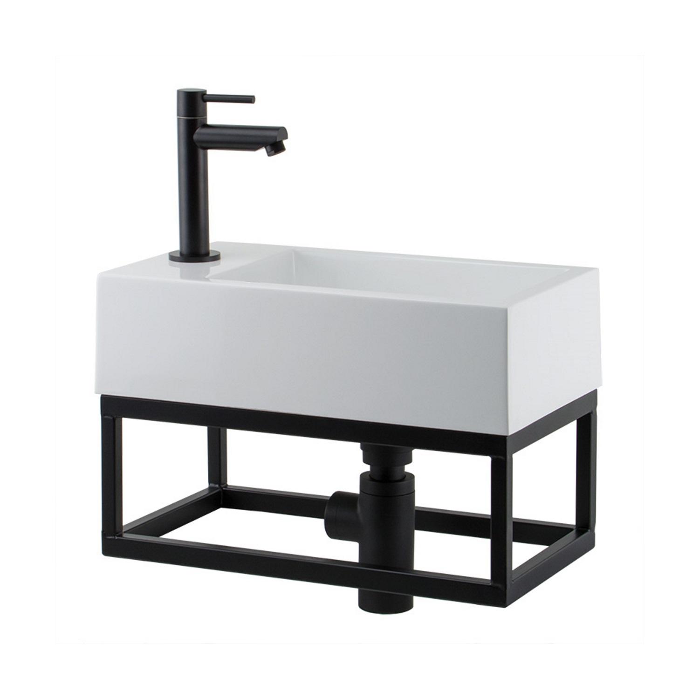 Fontein toilet van Boss & Wessing kopen? Fonteinset BWS Solid Black 40x22x10 cm met Mat Zwart Frame (kraangat links) voor de Wastafels met korting