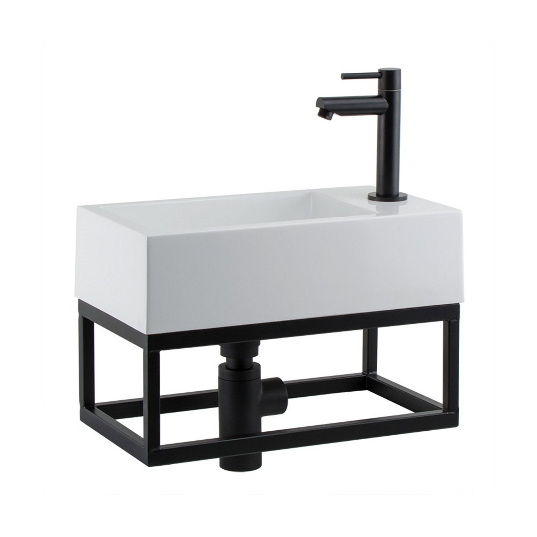 Fontein toilet van Boss & Wessing kopen? Fonteinset BWS Solid Black 40x22x10 cm met Mat Zwart Frame (kraangat rechts, exclusief kraan) voor de Wastafels met korting