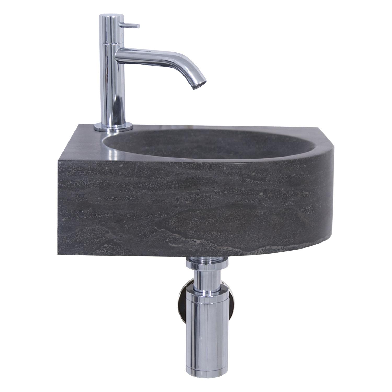 Fonteinset Differnz Iton 30x30x10 cm Kalksteen Zwart Wastafels > Fontein toilet > Fonteinset snel en voordelig in huis