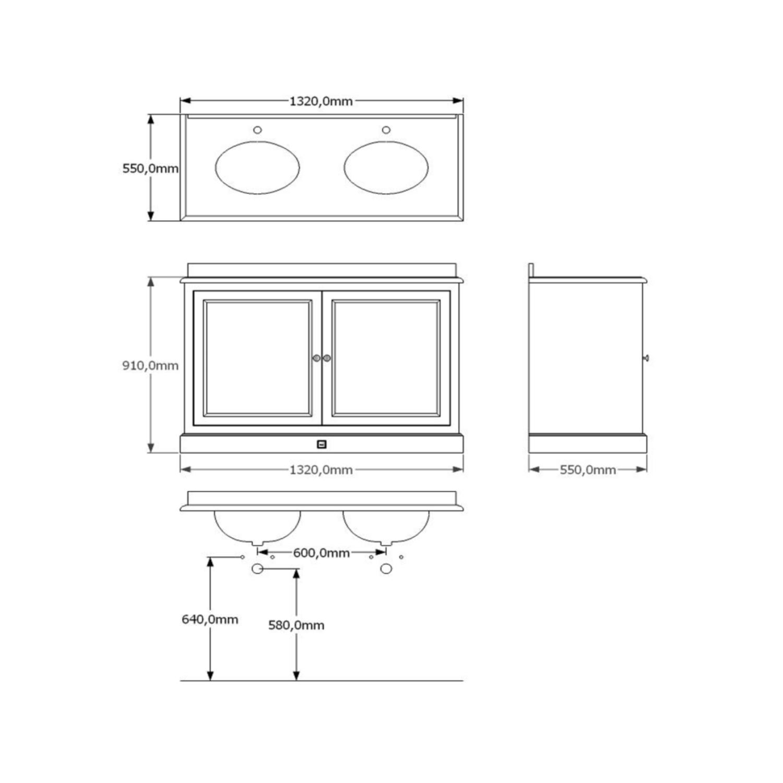 badkamermeubel set traditional 130 cm wit 2 deuren