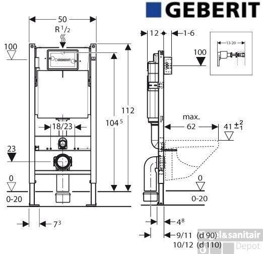 Afmeting Hangend Toilet.Geberit Up100 Toiletset Set01 Design Met Delta Drukplaat
