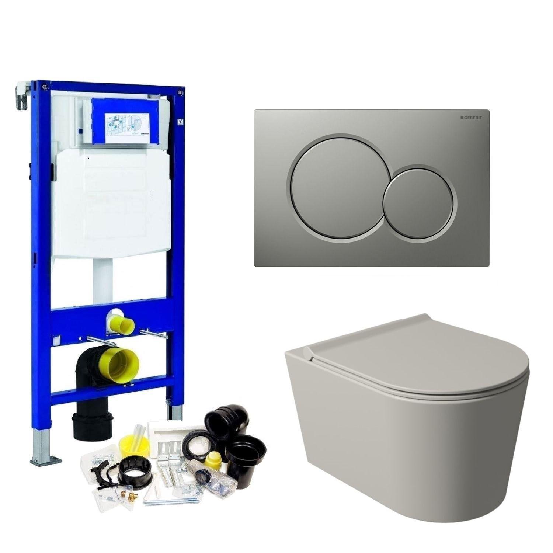 Geberit UP320 Toiletset Wandcloset Salenzi Civita Mat Grijs met Sigma 01 Drukplaat