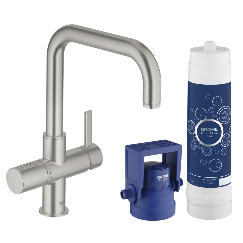 Keukenkraan Grohe Blue Pure met Filterfunctie en Starterkit U Uitloop Chroom Kranen > Keukenkraan > Keukenkraan snel en voordelig in huis