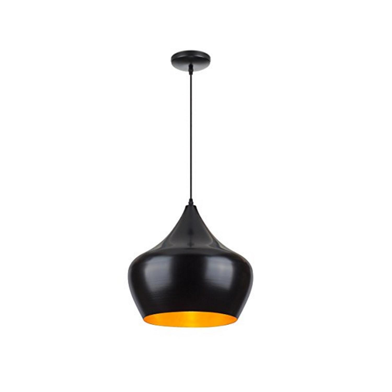 Hanglamp BWS Tipi Max 60W Binnenkant Goud Buitenkant Mat Zwart