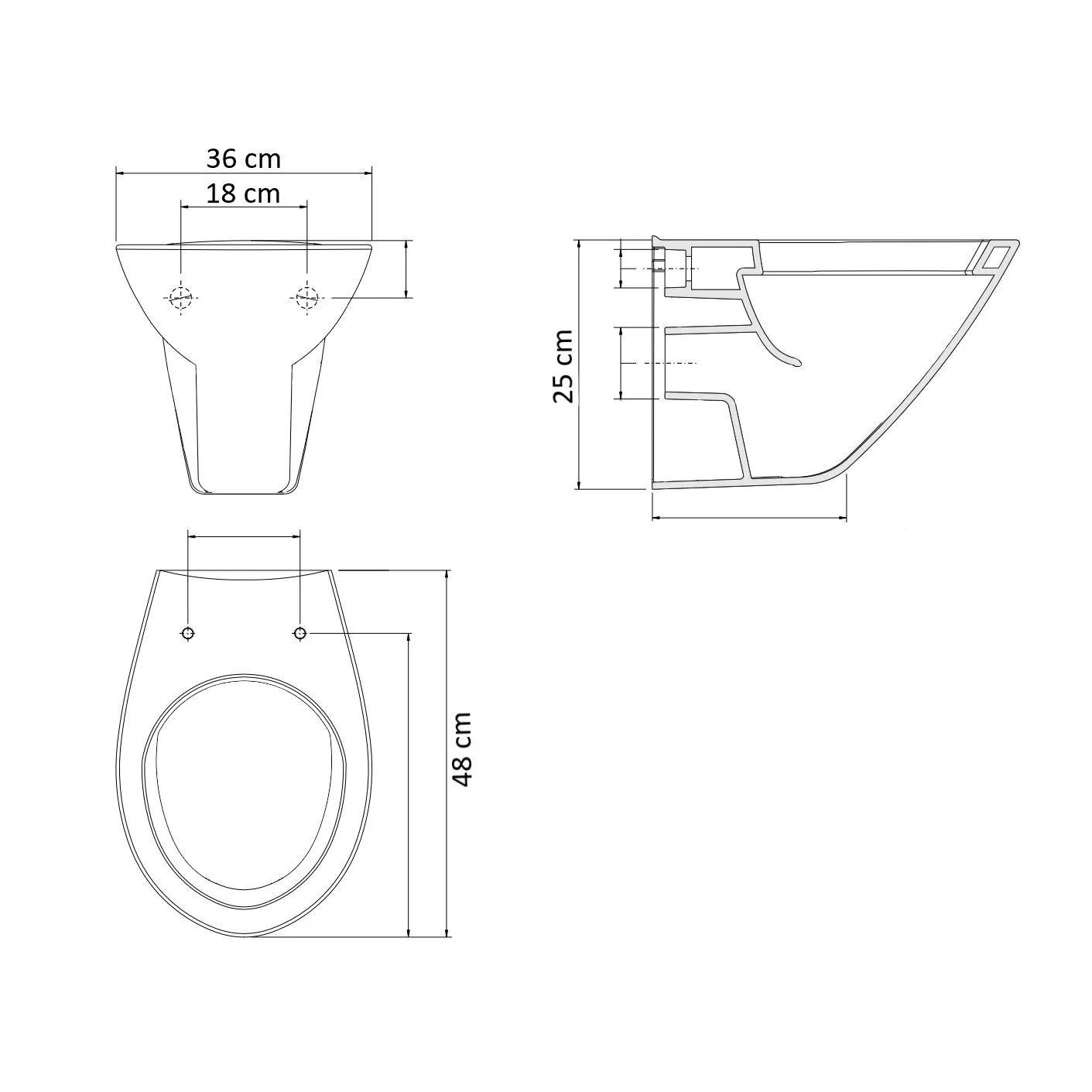 Afmeting Hangend Toilet.Hangtoilet Sanilux Easy Flush Compact Randloos 48cm Incl Zitting