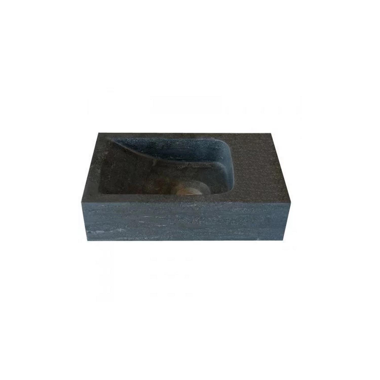 Hardstenen fontein Mini rechts zonder kraangat 18x30x8 cm