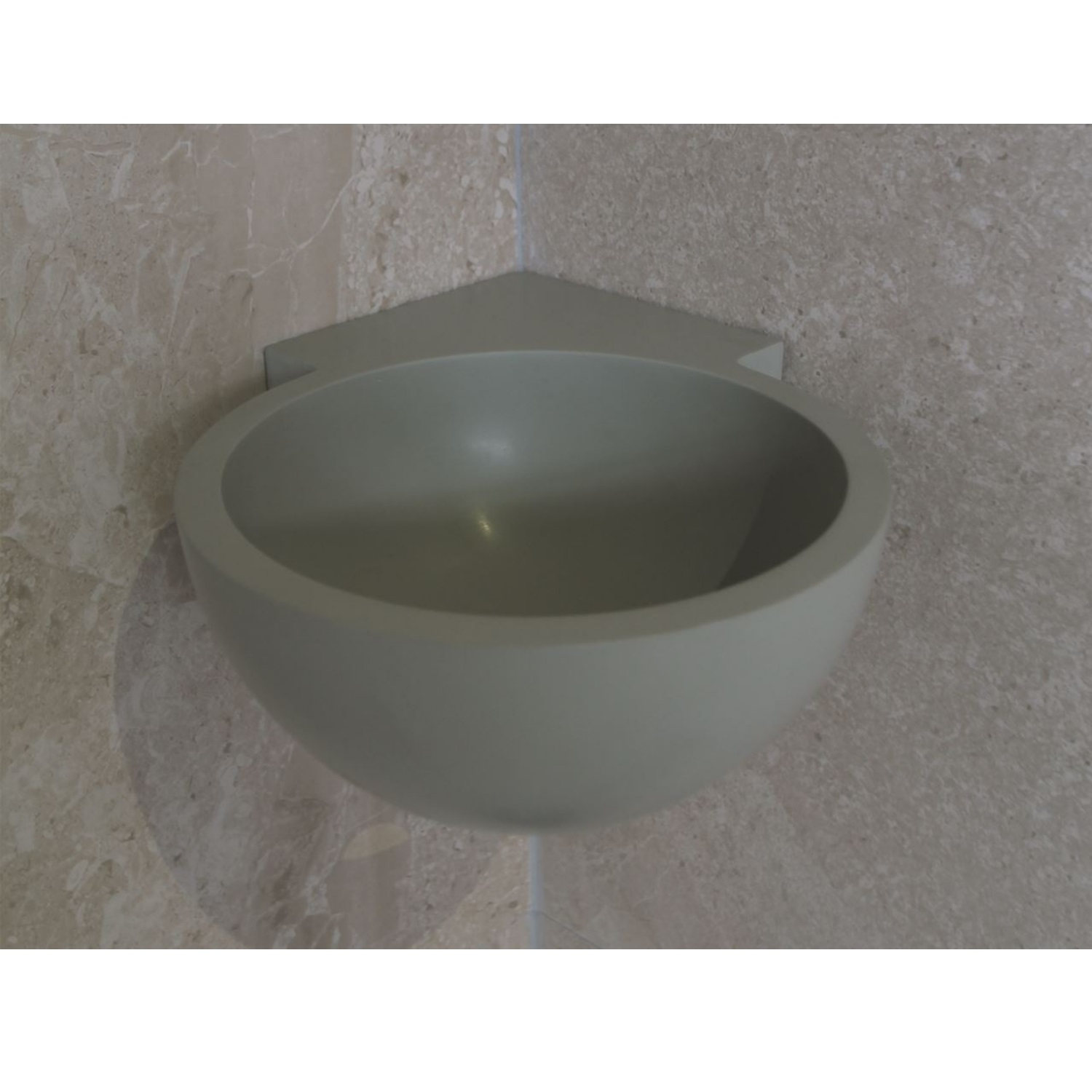Hoekfontein Luca Sanitair Rond 28x28x12cm Solid Surface Camoscio Grijs