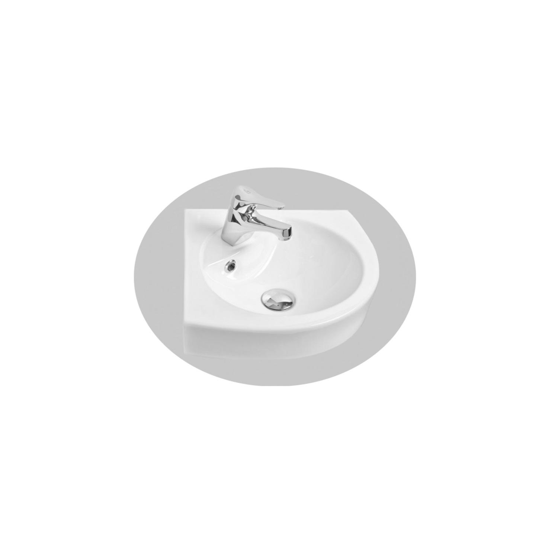 Sanitair-producten 75235 Hoekfontein Sanicare Met Overloop 1 Kraangat 15,1x36x36 cm Keramiek Wit