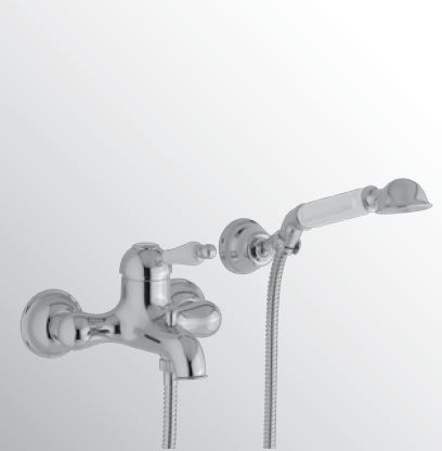 Sanitair-producten 15693 Huber Croisette Badmengkraan met handdoucheset Chroom/Goud CM.000120.74
