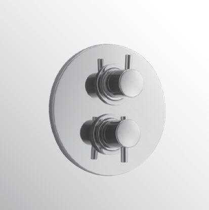 Kranen 13033 Huber Kiruna Inbouw Douchethermostaat met stop en omstelkraan chroom 369.KR01H.CR