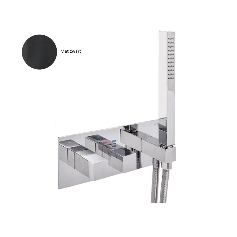 Inbouw Douchekraan Sanimex Giulini Thermostatisch 1-Uitgang Vierkant Incl. Handdouche En BOX Inbouwdeel Mat Zwart product foto
