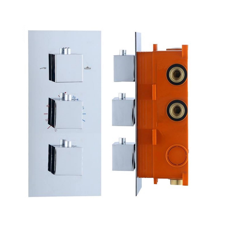 Inbouw Thermostaat Best Design Sano box 3 Weg 1/2 Vierkante Knoppen Chroom Best design Gratis bezorgd