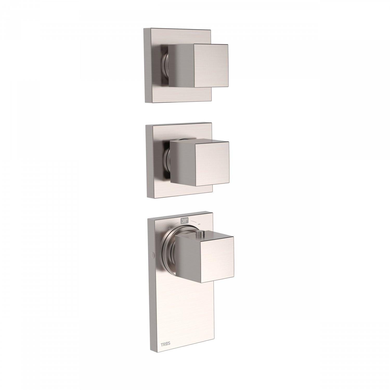 Inbouw Thermostaat Tres Block System 3-Weg Geborsteld Staal Tres Gratis bezorgd