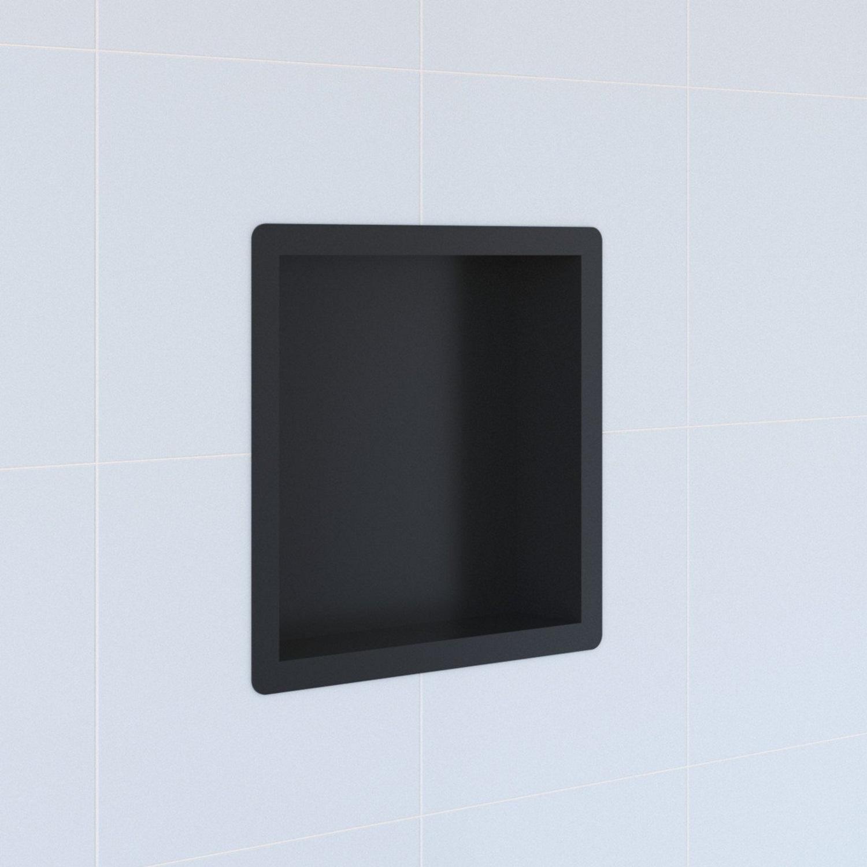 Inbouwnis Boss & Wessing Hide Luxe 30x30x7.5 cm RVS met Flens Zwart voordeel