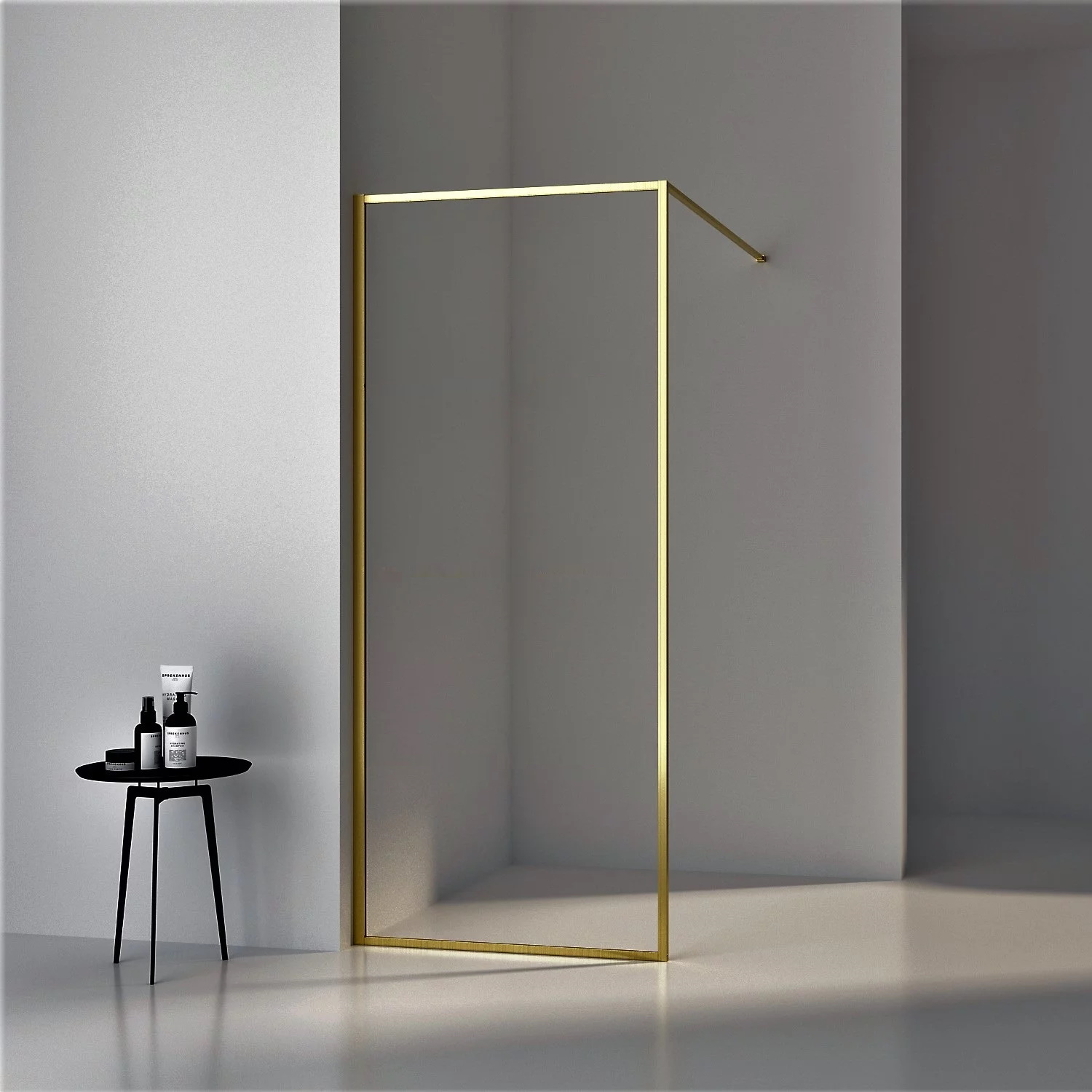 Inloopdouche Boss & Wessing Recta 120x200 cm 8mm NANO Glas Geborsteld Messing Goud