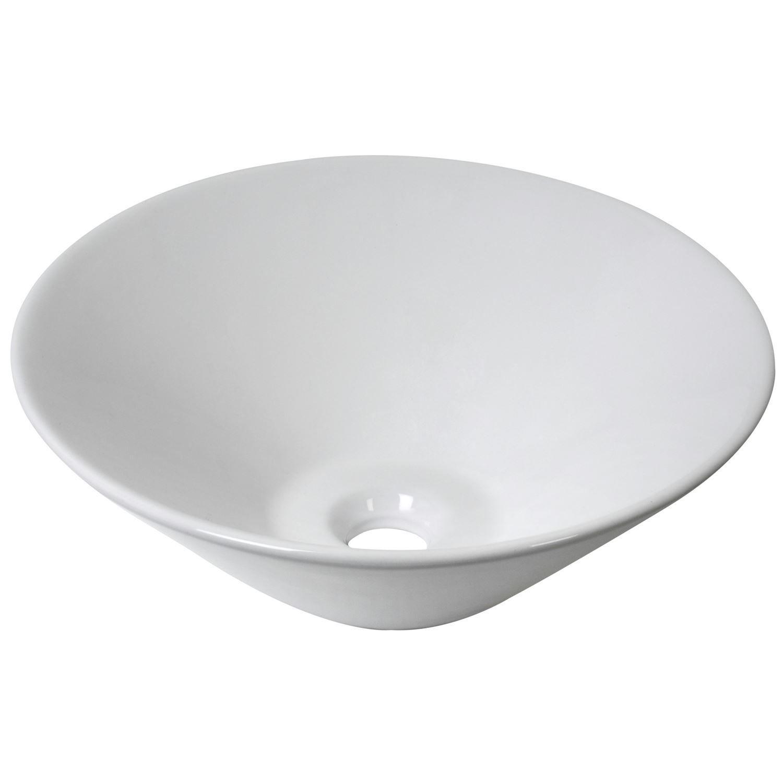 Sanitair-producten 5507 Keramische opbouw waskom Scarabeo Cone Ø 42x15cm wit