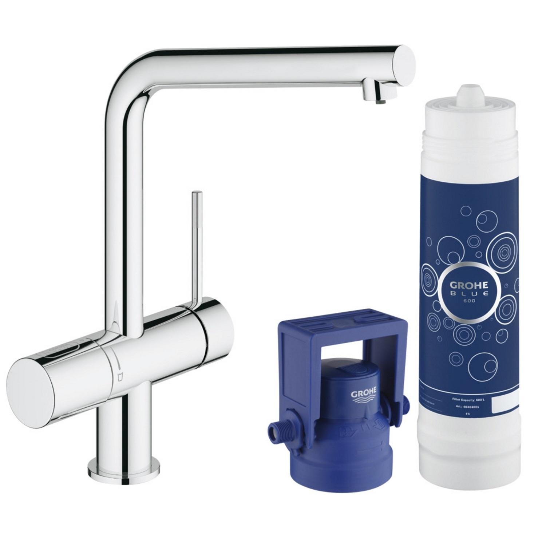Keukenkraan Grohe Blue Pure met Filterfunctie en Starterkit L Uitloop Chroom Kranen > Keukenkraan > Keukenkraan snel en voordelig in huis