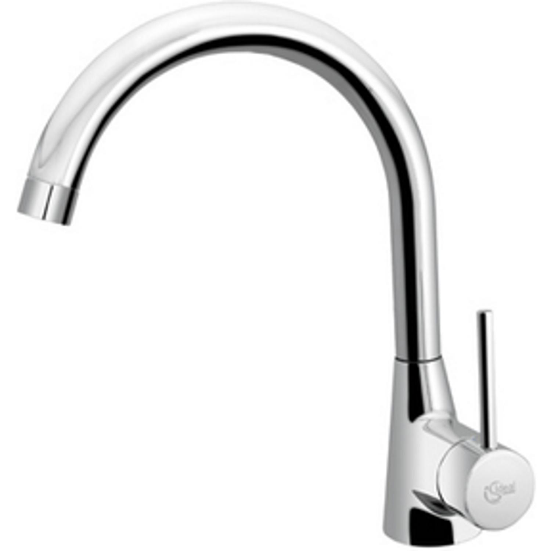 Productafbeelding van Ideal Standard Idealform Plus 1 gats keukenkraan met gebogen uitloop chroom F2841AA