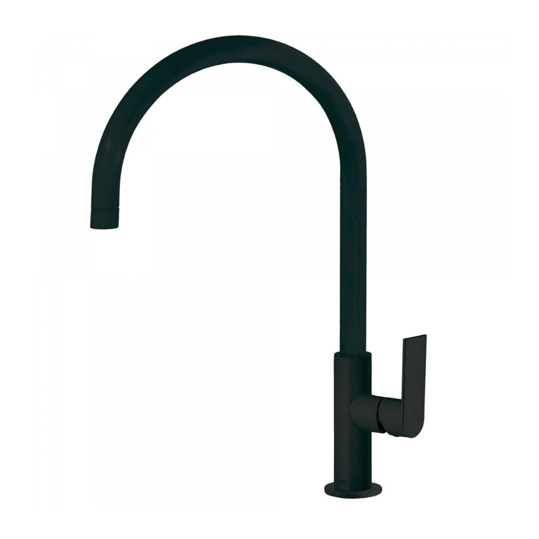 Productafbeelding van Keukenmengkraan Tres Loft 1-Hendel Uitloop Gebogen 26 cm Rond Mat Zwart