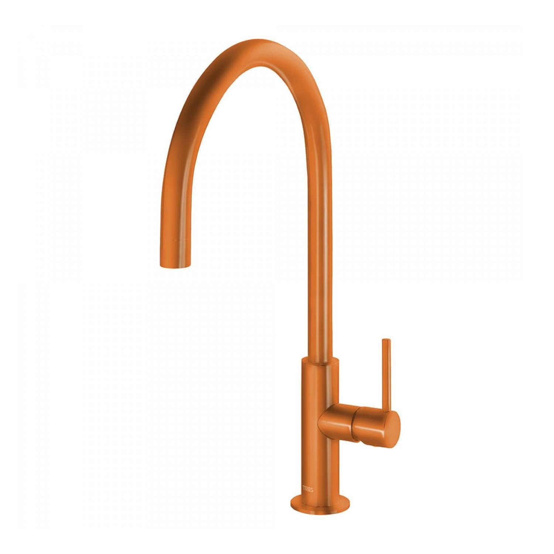 Kranen  kopen? Keukenmengkraan Tres Study Colors 1-Hendel Uitloop Gebogen 26 cm Rond Oranje met korting
