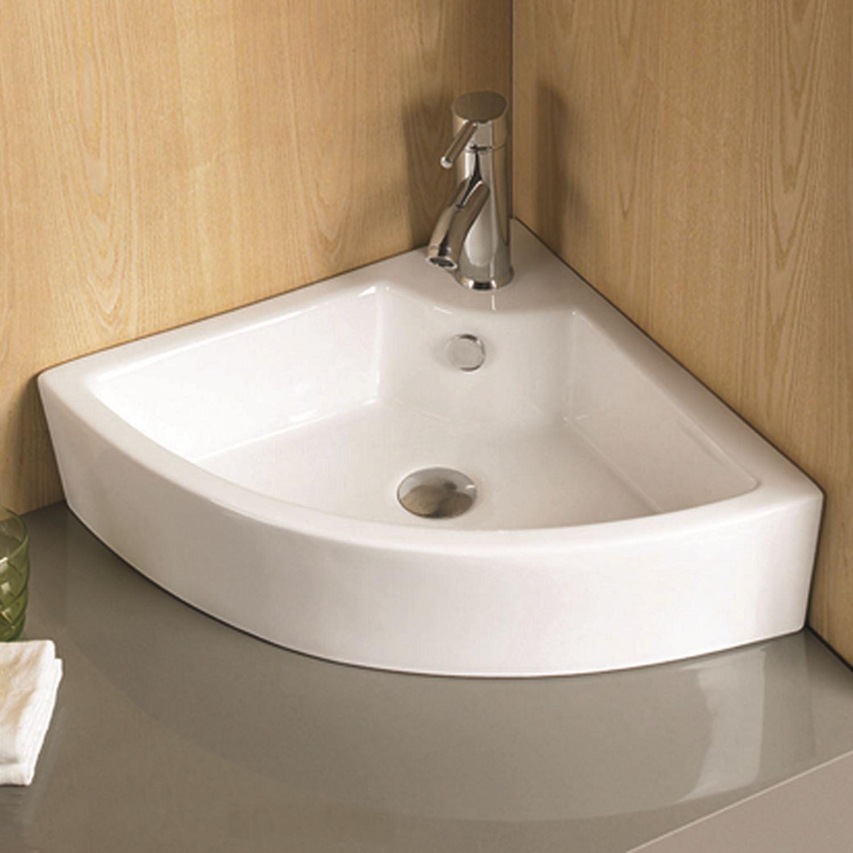 Sanitair-producten 5596 Fontein Wiesbaden Pallas Hoekfontein 44,5x32,5x13cm Keramiek Wit (exclusief waste)