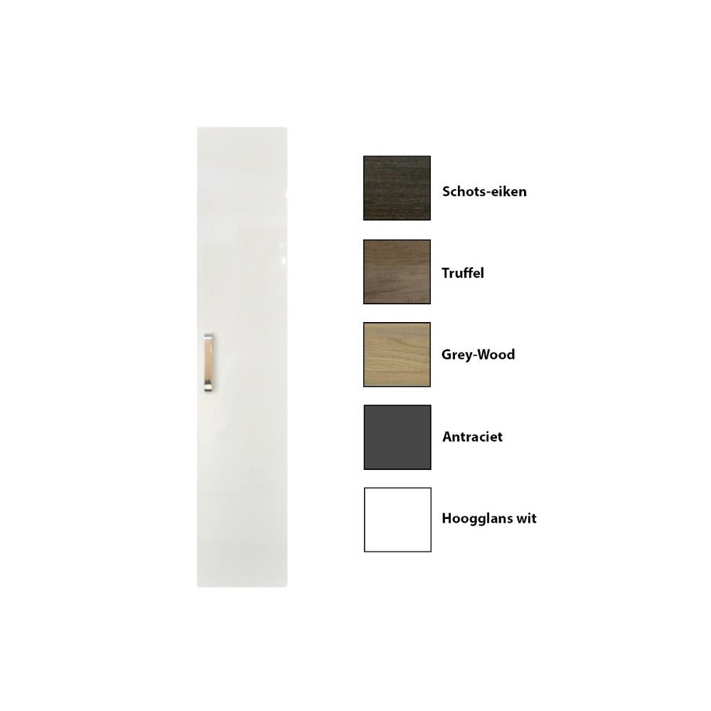 Kolomkast Sanicare 1 Soft Closing Deur Chromen Greep Inclusief Waszak Grey Wood