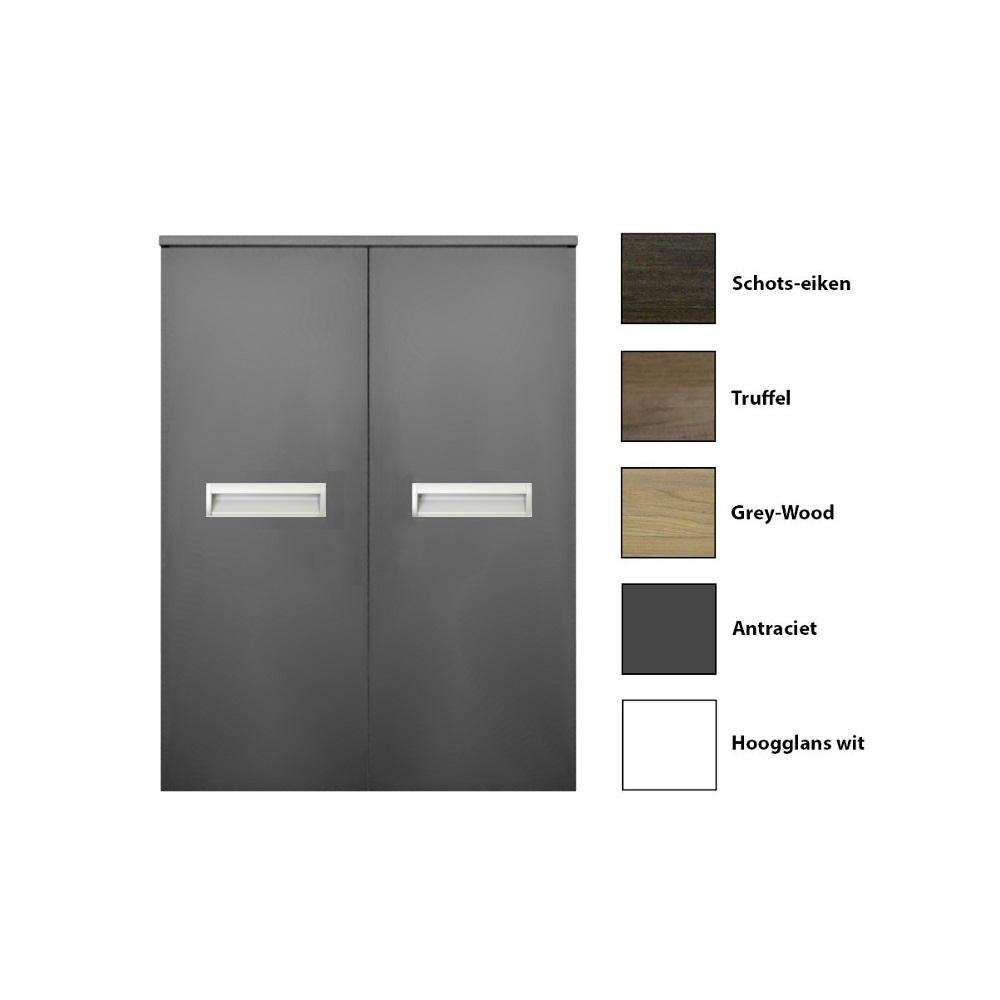 Kolomkast Sanicare 2 Deurs Soft Closing Alu Greep Grey Wood