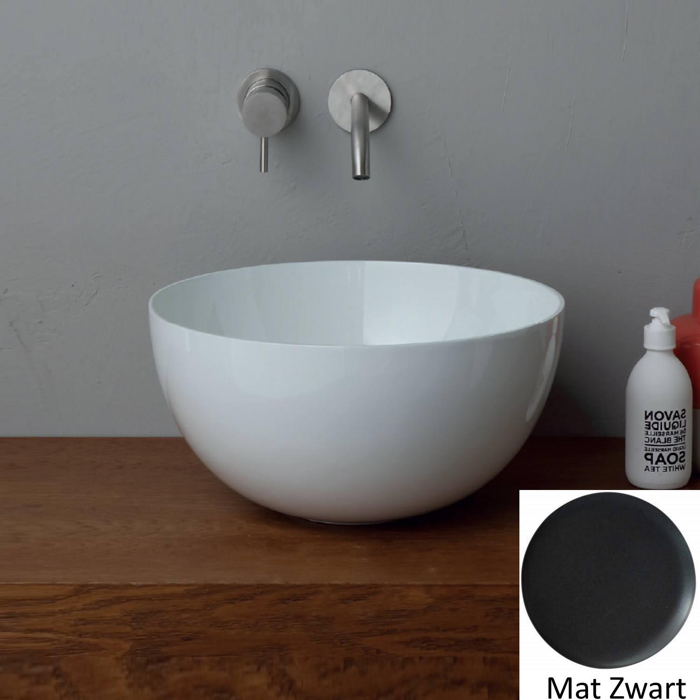 Ronde Wastafel Opbouw Salenzi Unica Round 40×20 cm Mat Zwart (inclusief bijpassende clickwaste)