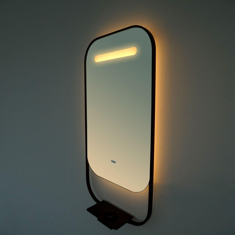 Led Spiegel Vanita Pollux Deluxe met Spiegelverwarming en Telefoonoplader 80x80 cm Mat Zwart