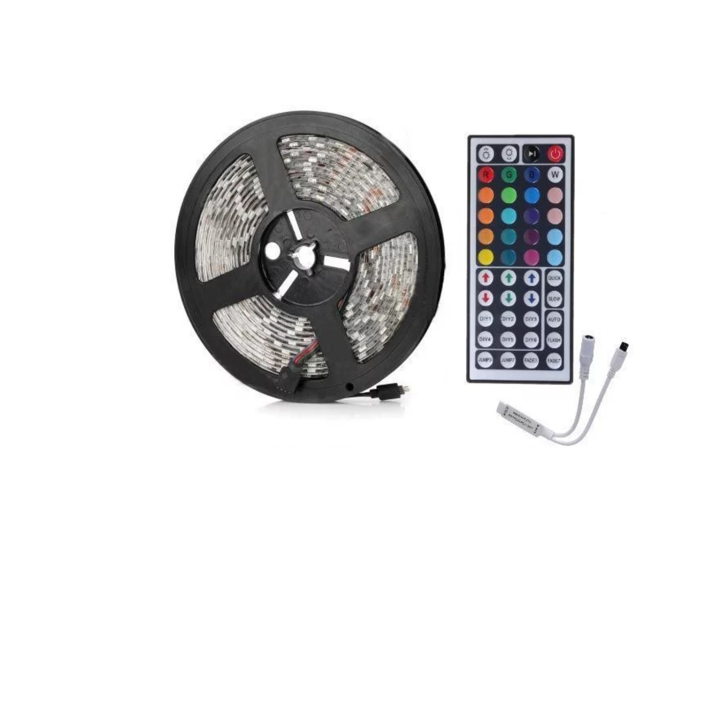 RGB LED strip met IR Afstandsbediening & Adapter (5M, incl ...