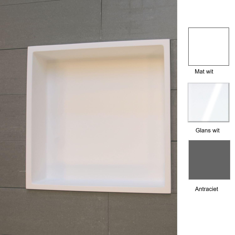 Accessoires 67780 Inbouwnis Luca Sanitair 29.5x29.5x8 cm Solid Surface Mat Wit
