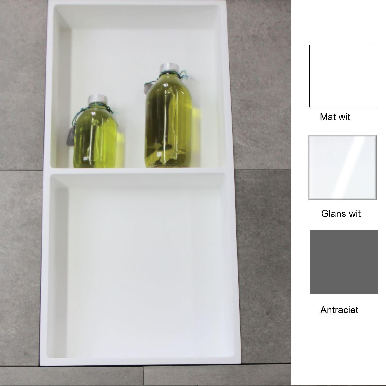 Accessoires 67794 Inbouwnis Luca Sanitair 59,5x29,5x8cm Polystone 2 Vakken Rechthoek Glans Wit