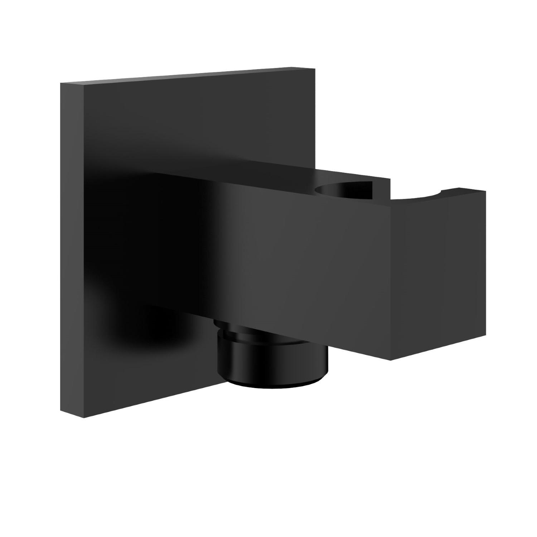 Luxe Doucheaansluiting Vierkant met Opsteek 1/2 Messing Mat Zwart