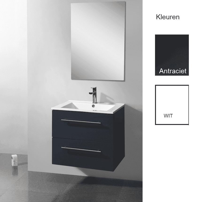 Badkamermeubels Wastafelonderkast kopen? Badkamermeubelset Sanilux Keramic 60×46,5×50 cm (verkrijgbaar in twee kleuren) met korting