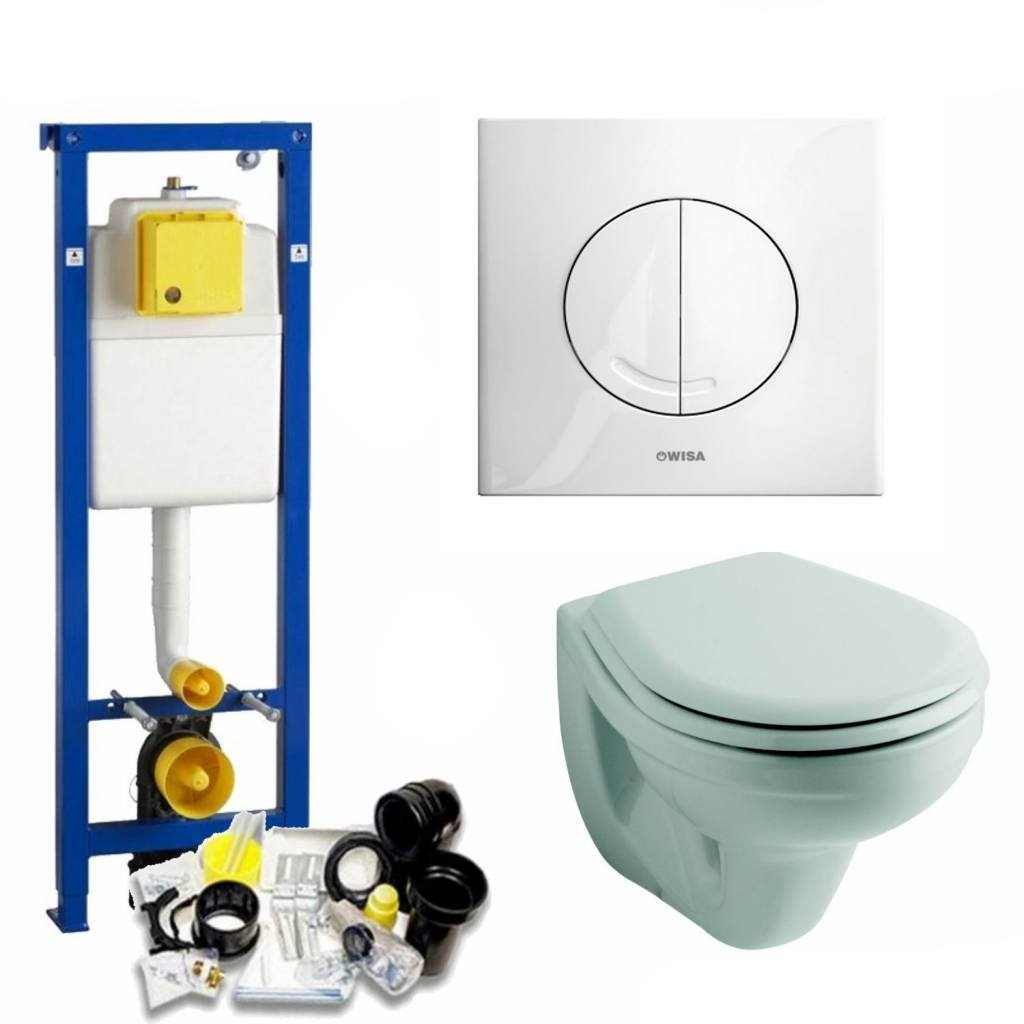 Wisa Xs Toiletset 04 Aqua Splash Metro Met Bril En Drukplaat - Standaard Argos Wit - 8050414601